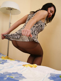 Upskirt chick taking the most from posing in her barely black pantyhose pictures at find-best-mature.com