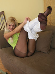 Naughty blondie taking advantage in teasing with her control top pantyhose pictures