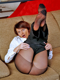 Hot business lady aching to taste her yummy feet in black control top hose pictures at adspics.com