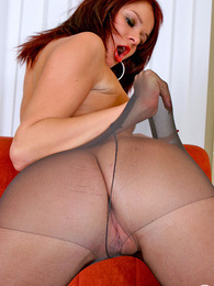 Redhead babe in grey control top pantyhose willingly opening her pussy lips pictures at lingerie-mania.com
