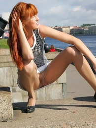 Redhead babe flashing her yummy slit through control top pantyhose outdoors pictures at find-best-pussy.com