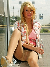 Blonde mischief in sheer tights flashing her nyloned pussy in public place pictures at lingerie-mania.com