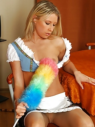 Bouncy French maid in nylon pantyhose tickling her pussy under short skirt pictures at kilopics.net