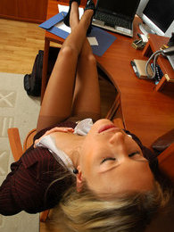 Lewd secretary in tan tights knowing how to satisfy herself at lunch hour pictures at lingerie-mania.com