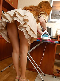 Lewd housewife in soft silky tights prefers dildotoying to her daily chores pictures at lingerie-mania.com