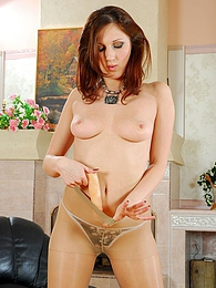 Raunchy gal in expensive pantyhose savoring steamy dildo-action on armchair pictures at find-best-babes.com