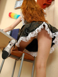 Sexy French maid in flying skirt flashing her crotch through nylon tights pictures at kilopics.net