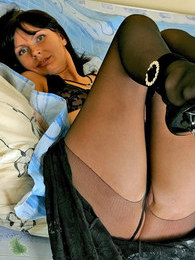 Pussy-stroking just adding some spice to pantyhose teasing of awesome chick pictures