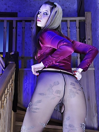 Funky babe strips silky clothes to show crotchless and hipster fashion hose pictures at adipics.com