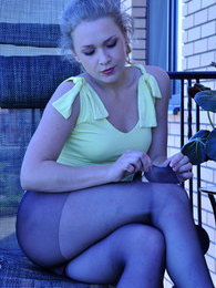 Tasty blondie strips off outdoors and slides her hand under the black hose pictures at find-best-ass.com