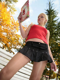 Blonde flasher wearing shiny tan hose with no underwear for outdoor play pictures at find-best-panties.com