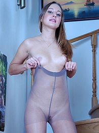 Mischievous chick wearing her grey control top pantyhose without any panties pictures at dailyadult.info