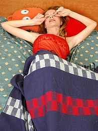 Sleepy blonde cutie in flesh-colored pantyhose thinking up her sexy outfit pictures at dailyadult.info