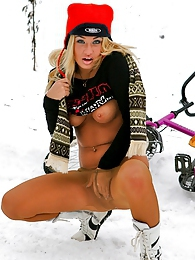 Steamy chick in flesh-colored pantyhose going for a ride in winter weather pictures at kilogirls.com