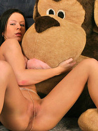 Sultry brunette in silky pantyhose playing dirty games with her plush toy pictures