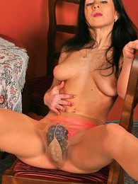 Nasty brunette stripping off till her silky pantyhose and sexy lingerie pictures at freekilopics.com