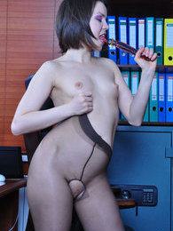 Hot office girl toys her ass in open crotch tights after some upskirt tease pictures at sgirls.net