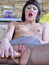 Randy lass strips to her shiny grey pantyhose for a vigorous dildo session pictures at find-best-lingerie.com