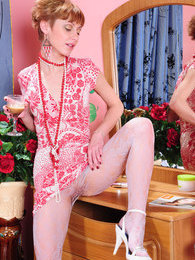 Nasty housewife gets hot from the feel of her lacy white and soft red hose pictures