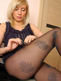 Freshly showed blonde puts on her festive black glittery pattern pantyhose pictures