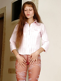 Long-haired girl flashes buttocks and toys her pink in colored fashion hose pictures at adspics.com