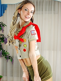 Upskirt scout girl shows off her long legs and crotch thru khaki pantyhose pictures at find-best-panties.com