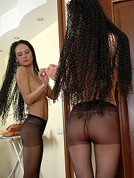 Funky dark-haired girl adores the look of her black control top pantyhose pictures at lingerie-mania.com
