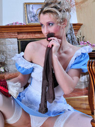 Pantyhose-addicted French maid worshiping and trying on new stylish hosiery pictures at find-best-mature.com