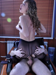 Hot office girl in control top hose reveals cock sucking and fucking skills pictures at freekilosex.com