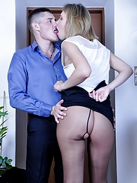 Raunchy gal in a mini-skirt and sheer dark pantyhose fucked by a co-worker pictures