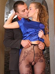 Dolled-up office girl in lush floral pattern hose gets impaled on a boner pictures at find-best-lingerie.com