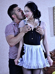 Pretty uniformed maid in black pantyhose and pumps laid by a horny master pictures at freekilomovies.com