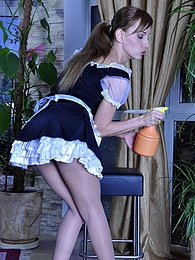 Sassy French maid gets her fine control top pantyhose jizzed by her master pics