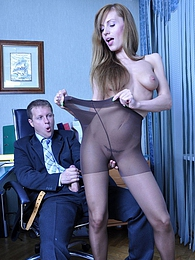Dumb secretary cajoles her angry boss with a blowjob and raw pantyhose sex pictures at freekilosex.com