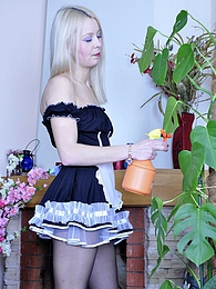 Blonde upskirt maid gets licked and dicked thru her black crotchless tights pictures at freekilosex.com