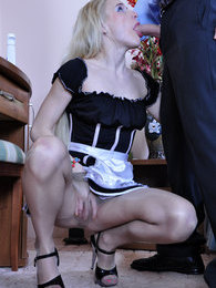 Long-haired blond maid gets talked into a pantyhose quickie with her master pictures