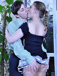 Upskirt French maid in barely there hose groped and boned by a young master pictures at lingerie-mania.com