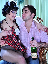 Uniformed upskirt hussy going for drunken pantyhose sex with a horny guy pictures at lingerie-mania.com