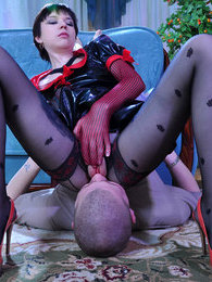 Freakish nurse using fancy pantyhose encasements to spice up her coupling pictures