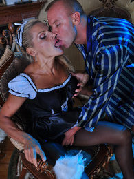 Naughty French maid in black sheer-to-waist pantyhose getting slammed hard pictures
