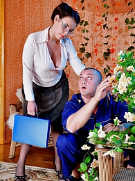 Lusty office babe seduces a studly dude getting her sheer grey hose creamed pictures at freekilomovies.com