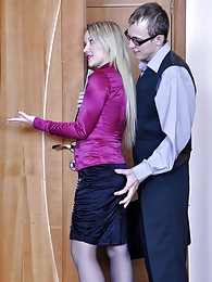 Tasty secretary in dark blue pantyhose getting laid by her nerdy co-worker pictures