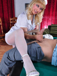 Slutty nurse in white pantyhose gives first aid to a billiard player's cock pictures at sgirls.net