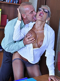 Bigtitted personal assistant in elegant grey pantyhose nailed in the office pictures at freekilomovies.com