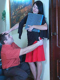 Hot sec in lacy hose offers a co-worker a better alternative to boring work pictures at find-best-videos.com