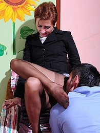 Heated secretary in dark pantyhose approaching a guy for wild cock-riding pictures at sgirls.net