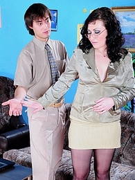 Sex-crazy secretary in black control top hose going for fucking exercises pictures at freekilomovies.com
