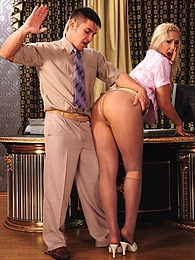 Nasty secretary in torn hose gets spanked and forced for a fuck by her boss pictures