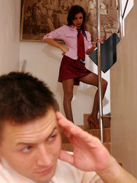 Redhead secretary in grey pantyhose ready for mighty dicking at lunch hour pictures at kilosex.com