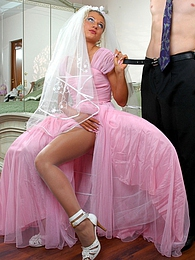 Beautiful bride in pink wedding dress and white hose going for a hot score pictures at find-best-babes.com